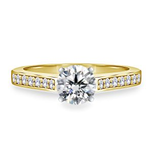 Round Brilliant Diamond Cathedral Engagement Ring In 14K Yellow or White Gold (1/2 Carat Weight)