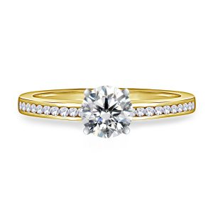 Round Brilliant Diamond Channel Set Engagement Ring In 14K Yellow or White Gold (1/2 Carat Weight)