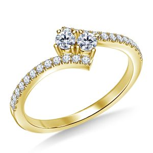 Two Stone Y&M Diamond Ring Prong Set in 14K Yellow or White Gold (1/2 Carat Weight)