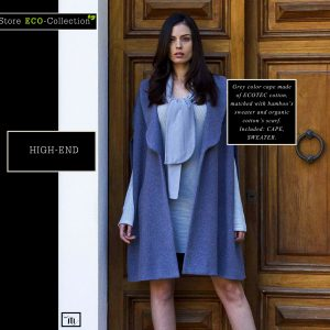 Grey color Cape made of Organic Cotton, combinedwith bamboo's Sweater and Organic Cotton's Scarf