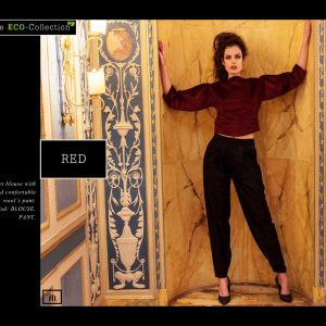 Red velvet Blouse with soft and confortable Wool's Pant