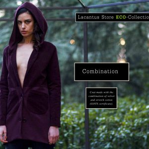 Coat made with the combination of velvet and stretch cotton