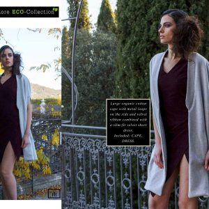 Large organic cotton Cape combined with a slim-fit velvet Short Dress