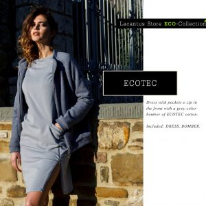 Dress with pockets and with a grey color bomber of ECOTEC cotton