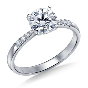 Petite Solitaire Diamond Engagement Ring Semi Mount In 14K Yellow or White Gold (1/2 Carat Weight)
