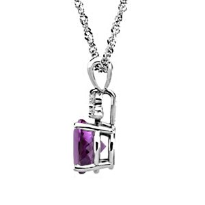14K White Gold Diamond And Genuine Amethyst Trio Accent Pendant (7X5mm)