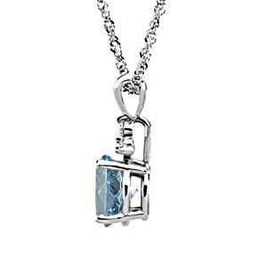 14K White Gold Diamond And Genuine Aquamarine Trio Accent Pendant (7X5mm)