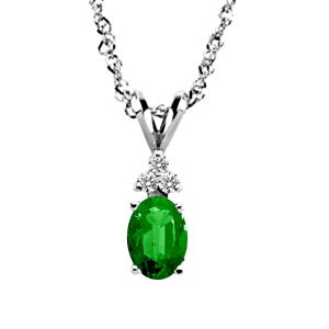 14K White Gold Diamond And Genuine Emerald Trio Accent Pendant (7X5mm)