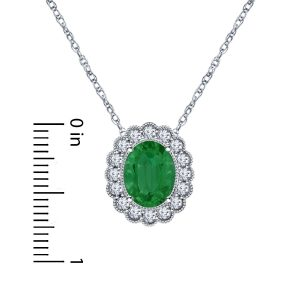 14K White Gold Emerald And Diamond Pendant Necklace With Scalloped Halo (9X7mm)