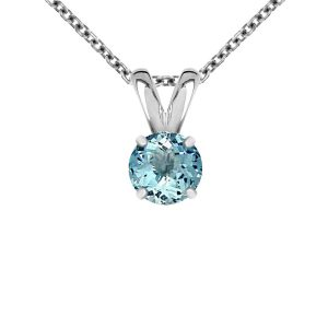 14K White Gold Genuine Aquamarine Solitaire Pendant (5mm)