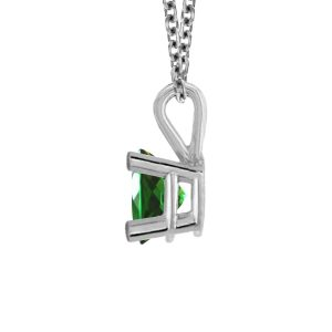 14K White Gold Genuine Emerald Solitaire Pendant (5mm)