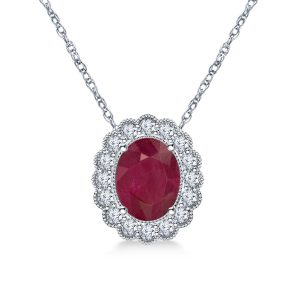 14K White Gold Ruby And Diamond Pendant Necklace With Scalloped Halo (9X7mm)