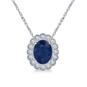 14K White Gold Sapphire And Diamond Pendant Necklace With Scalloped Halo (9X7mm)
