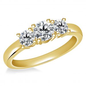 14K Yellow or White Gold Prong-Set Three Stone Diamond Ring (1.00 Carat Weight)
