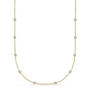 Bezel Set Diamond Station Necklace In 14K Yellow Gold (1/2 Carat Weight)
