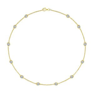 Bezel Set Diamond Station Princess Length Necklace (1 1/5 Carat Weight)