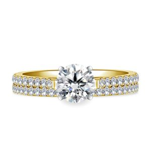 Cathedral Matching Diamond Engagement Ring And Wedding Band Set In 14K Yellow or White Gold (1.00 Carat Weight)