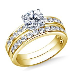 Channel Set Matching Diamond Engagement Ring And Wedding Band Set In 14K Yellow or White Gold (1.00 Carat Weight)