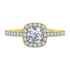 Cushion Cut Diamond Halo Engagement Ring In 14K Yellow or White Gold (1.00 Carat Weight)