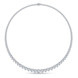 Diamond Eternity Line Necklace With Graduated Diamonds In Three Prong Settings (10.00 Carat Weight)