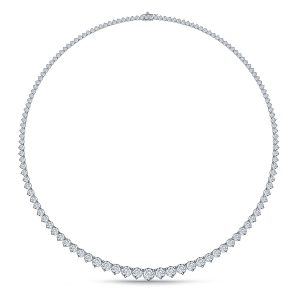 Diamond Eternity Line Necklace With Graduated Diamonds In Three Prong Settings (7.00 Carat Weight)