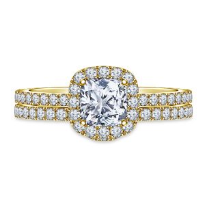 Diamond Halo Cushion Engagement Ring And Matching Wedding Band Set In 14K Yellow or White Gold (1 1/3 Carat Weight)