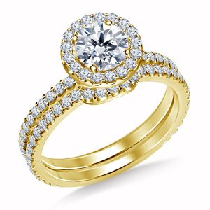 Diamond Halo Engagement Ring And Matching Wedding Band Set In 14K Yellow or White Gold (1 1/2 Carat Weight)