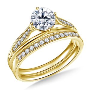Diamond Pave Engagement Ring And Matching Wedding Band Set In 14K Yellow or White Gold (1.00 Carat Weight)