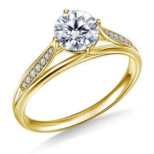 Diamond Pave Engagement Ring With Floral Tulip Design In 14K Yellow or White Gold (3/4 Carat Weight)