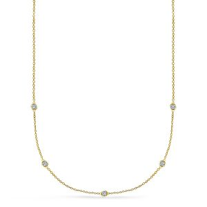 Diamond Station Necklace In 14K White Gold (1/4 Carat Weight)