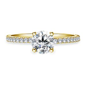 Diamond Swirl Style Engagement Ring With Prong Set Diamond In 14K Yellow or White Gold (1.00 Carat Weight)
