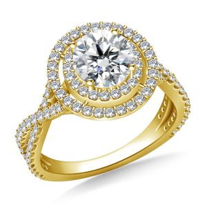 Double Halo With Twisted Split Shank Cathedral Engagement Ring In 14K Yellow or White Gold (1 1/2 Carat Weight)