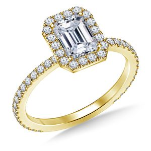 Emerald Cut Diamond Halo Engagement Ring In 14K Yellow or White Gold (1.00 Carat Weight)