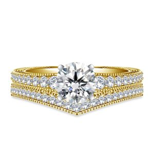 Engraved Pave Set Matching Diamond Engagement Ring With Wedding Band In 14K Yellow or White Gold (1 1/2 Carat Weight)