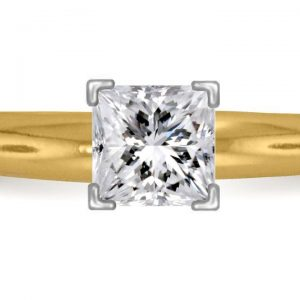 Four Prong Pre-Set Princess Diamond Solitaire Ring In 14K Yellow Gold or White Gold (1/2 Carat Weight)
