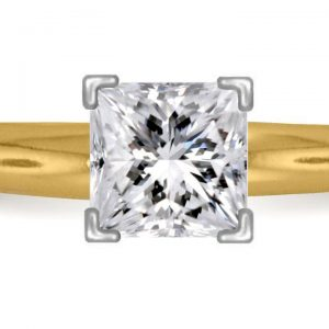 Four Prong Pre-Set Princess Diamond Solitaire Ring In 14K Yellow Gold or White Gold (1.00 Carat Weight)