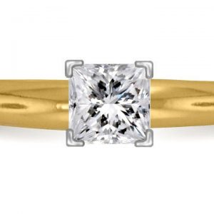Four Prong Pre-Set Princess Diamond Solitaire Ring In 18K Yellow Gold or White Gold (1/3 Carat Weight)