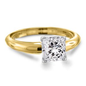 Four Prong Pre-Set Princess Diamond Solitaire Ring In 18K Yellow Gold or White Gold (1/2 Carat Weight)