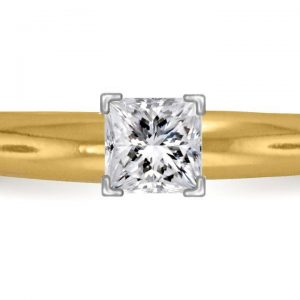 Four Prong Pre-Set Princess Diamond Solitaire Ring In 18K Yellow Gold or White Gold (1/4 Carat Weight)