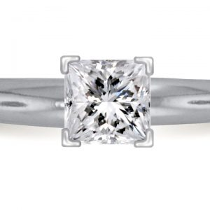 Four Prong Pre-Set Princess Diamond Solitaire Ring In Platinum (1/2 Carat Weight)