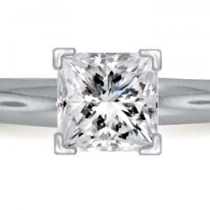 Four Prong Pre-Set Princess Diamond Solitaire Ring In Platinum (1.00 Carat Weight)