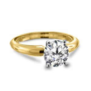 Four Prong Round Pre-Set Diamond Solitaire Ring In 18K Yellow or White Gold (1.00 Carat Weight)