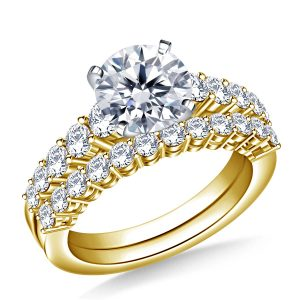 Graduated Prong Set Matching Diamond Engagement Ring And Wedding Band Set In 14K Yellow or White Gold (2.00 Carat Weight)