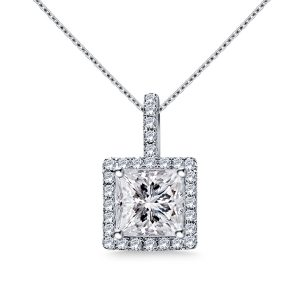 Halo Princess Cut Pendant With Micro Pave Diamonds In 14K White Gold (1.00 Carat Weight)