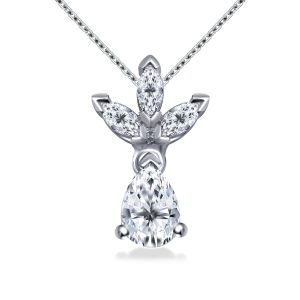 Marquise And Pear Drop Diamond Pendant In 14K White Gold (1 1/4 Carat Weight)