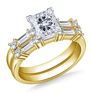 Matching Diamond Engagement Ring And Wedding Band With Baguette Diamonds In 14K Yellow or White Gold (1 1/2 Carat Weight)