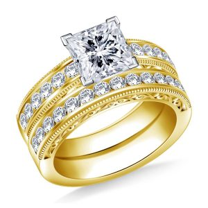 Milgrain Channel Set Matching Diamond Engagement Ring With Wedding Band In 14K Yellow or White Gold (1 1/2 Carat Weight)