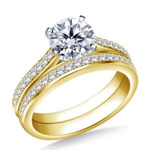 Pave Set Diamond Cathedral Engagement Ring And Matching Wedding Band Set In 14K Yellow or White Gold (1.00 Carat Weight)