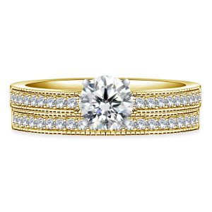 Pave Set Matching Diamond Engagement Ring And Wedding Band Set In 14K Yellow or White Gold (1.00 Carat Weight)