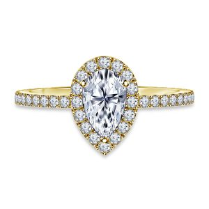 Pear Shaped Diamond Halo Engagement Ring In 14K Yellow or White Gold (1.00 Carat Weight)